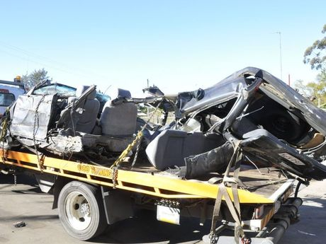 A vehicle was extensively damaged in a crash on the New England Hwy near the intersection of Greenmount Etonvale Rd about 7pm yesterday.