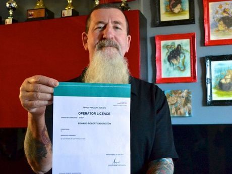 Sink the Ink Tattooz owner Ted Saddo (Edward Saddington) is one of only three tattoo studio owners to receive a licence to operate under Queensland's new anti-bikie gang laws.