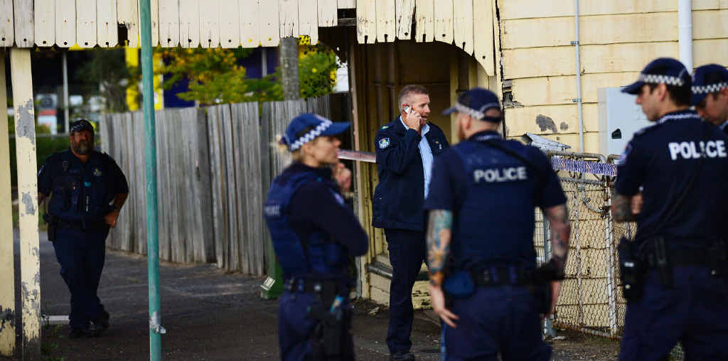 MYSTERY FIND: Police formed a crime scene after an Ipswich property owner discovered bones under the floor boards of an old house on Brisbane St in the Top of Town.