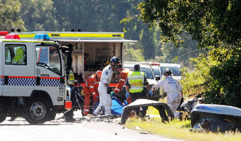 TRAGEDY: Two people perished after their car burst into flames in a two car collision at Pimlico on the Pacific Highway early on Saturday morning. One survivor remains in a serious but stable condition in the Gold Coast Hospital.