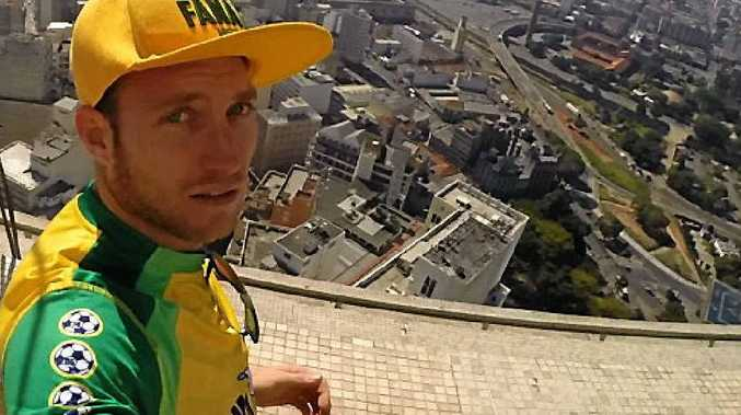 Alan Jackson taking in the view from Sao Paulo's tallest building while at the FIFA World Cup in Brazil.