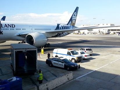 The Air New Zealand plane after it landed in Los Angeles following the death on board of a woman in her mid-50s.