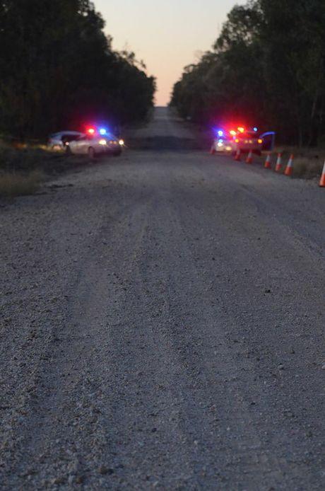 Police at the scene of a fatal crash near Chinchilla.