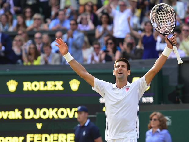 Novak Djokovic took on Roger Federer, winning 6-7 (7-9) 6-4 7-6 (7-4) 5-7 6-4  in 3hr 57min