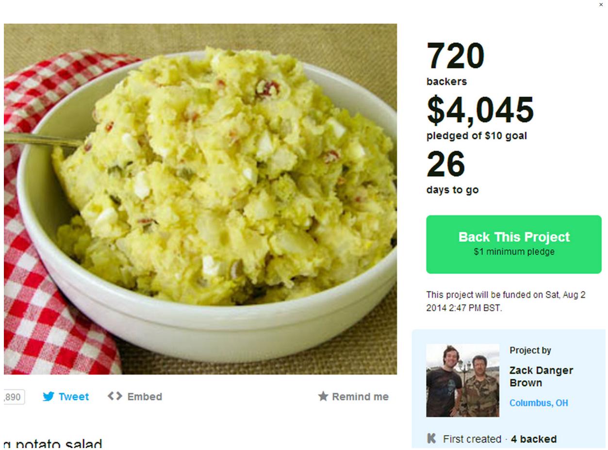 Man raises $4000 on Kickstarter after asking for $10 to make potato salad