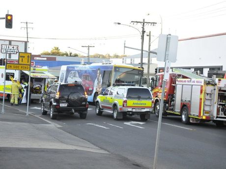 Emergency services on the scene at Mylne Street following a woman being hit by a bus.