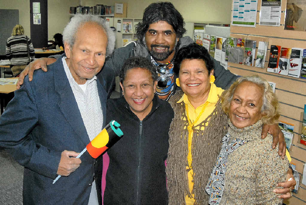TIGHT KNIT: Sunshine Coast indigenous entertainer Lyndon Davis (back) shows his love for his relatives, indigenous elders Uncle Col Williams, Auntie Karen Miller, Auntie Noeline Carter and Auntie Maxine Chilly.