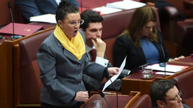 PUP Senator Jacqui Lambie speaks during Senate question time at Parliament House in Canberra, Tuesday, July 8, 2014.