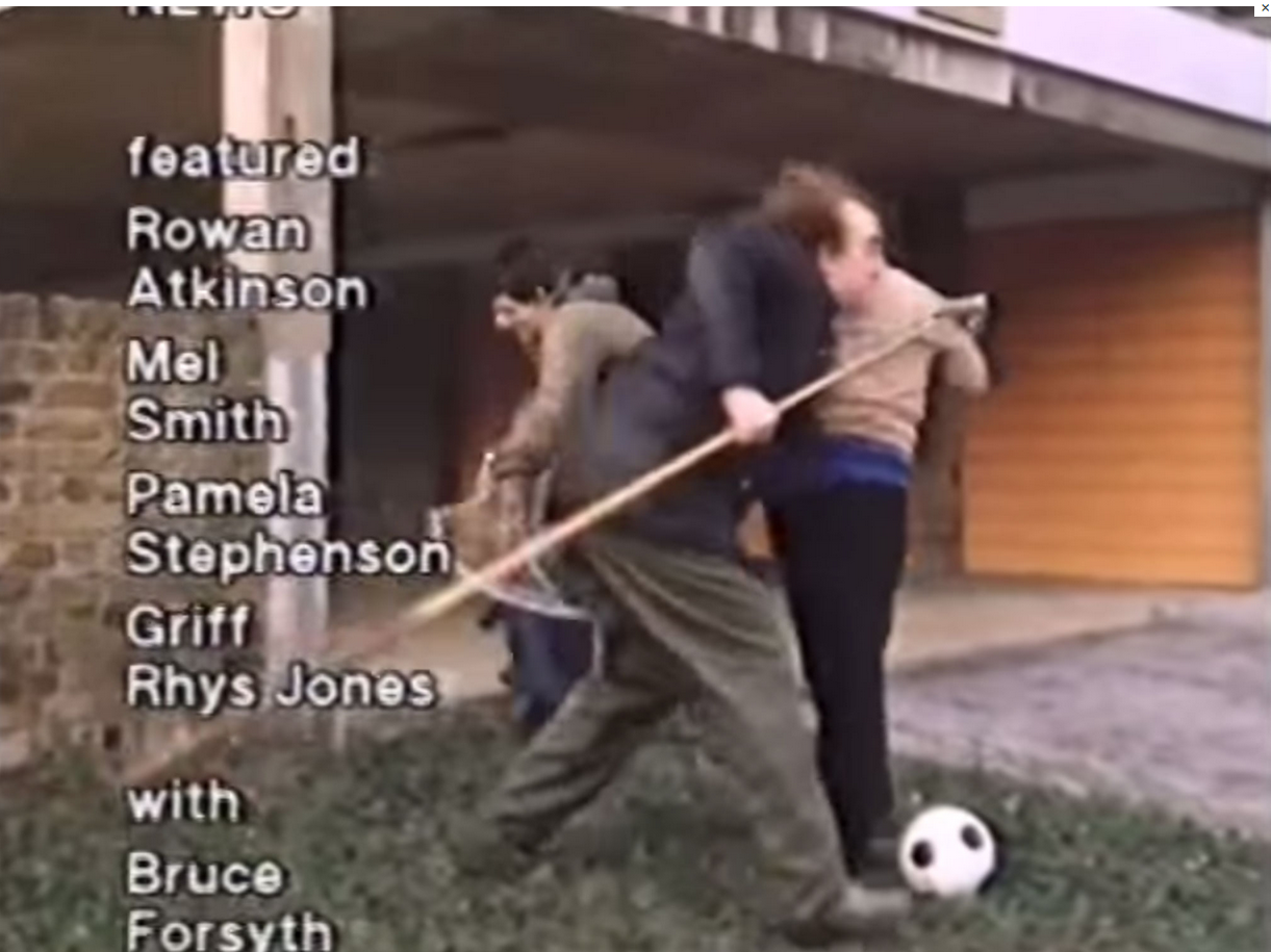 Screenshot from a clip of the 1980s sketch showing Mel Smith and Rowan Atkinson snatching children to take them to Rolf Harris's show Rolf on Saturday Ok?