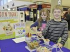 Caitlin Smith,9, and Lachlan Smith,11, enjoying some sweet yogurt creations at Yogurtland's school holidays stall, Stocklands shopping centre