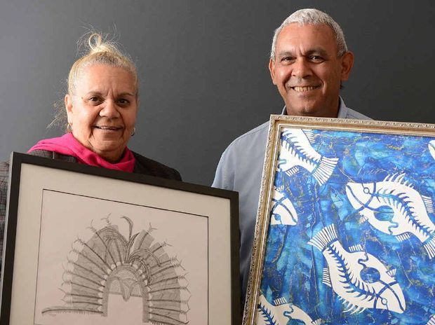 HEART-FELT: Debbie Scott and Mark King display their work in the Stories From The Art exhibition that will open soon at the Community Gallery in d'Arcy Doyle Place.
