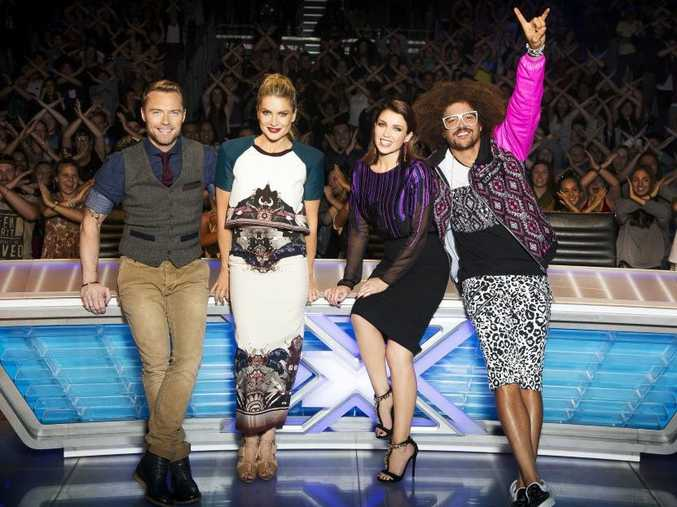 The X Factor Australia judges, from left, Ronan Keating, Natalie Bassingthwaighte, Dannii Minogue and Redfoo.