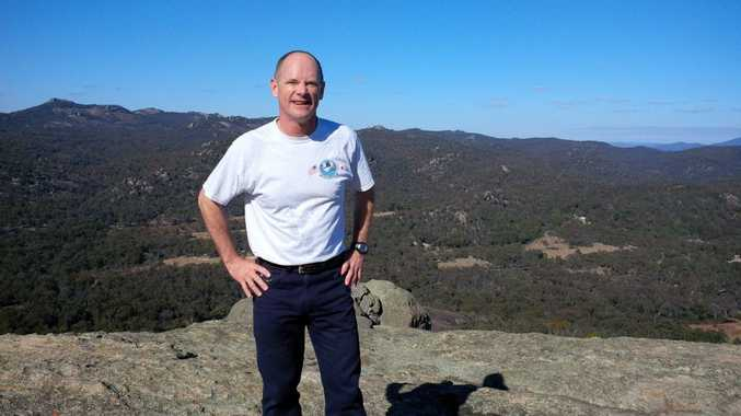 Premier Campbell Newman on a Queensland mountaintop