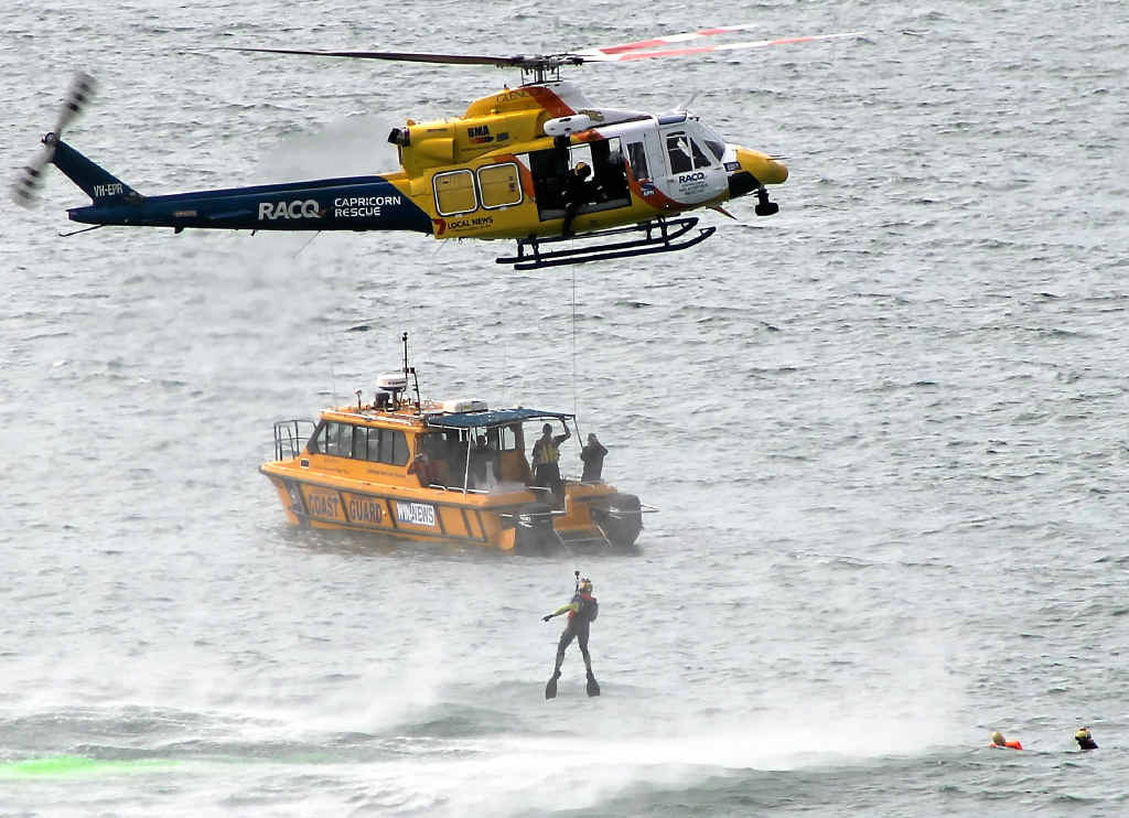 READY FOR ANYTHING: RACQ Capricorn Helicopter Rescue and Yeppoon Coast Guard combine in a training operation to prepare for real-life emergencies at sea.