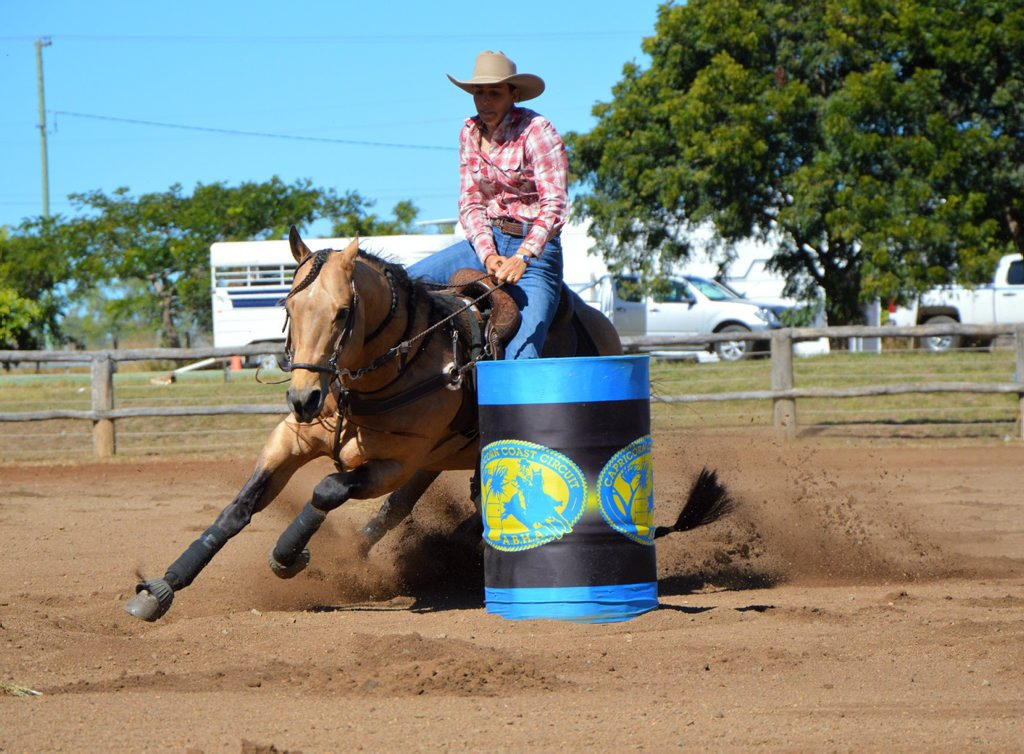 Wandoan barrel racer Rachel Little and Miracle Fame round a barrel during the Australian Barrel Horse Association's Cap Coast Barrel Racing Blitz at Gracemere Saleyards on the weekend.