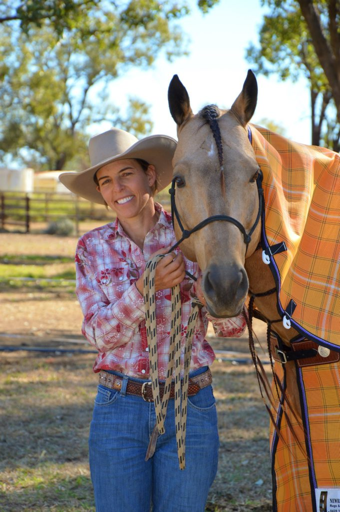 Wandoan barrel racer Rachel Little celebrates with Miracle Fame after the pair's outstanding performance at the Australian Barrel Horse Association's Cap Coast Barrel Racing Blitz at Gracemere Saleyards on the weekend.