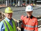 WORLD-CLASS PRECINCT: GPC Port Planning and Development general manager Gary Carter and WICET chief project officer Bryce Jones were on hand for the concrete pour at the water play park.