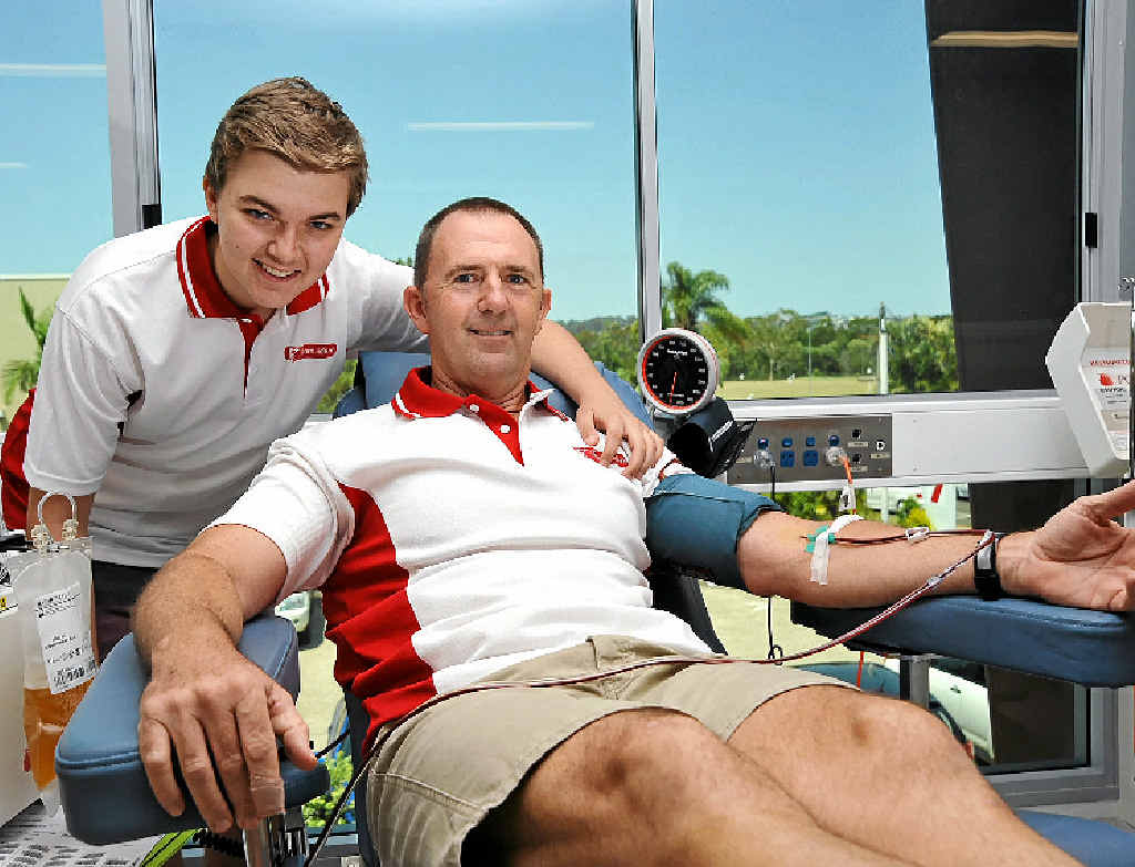 LEADING THE WAY: Dan (left) and Brent Crosby give blood at the Maroochydore Blood Donor Centre as part of Team Adem, where more than 1200 donations have been made for the cause.