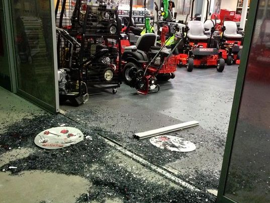 The mess left behind after two offenders stole an ATV from the Mackay Outdoor Power Centre.