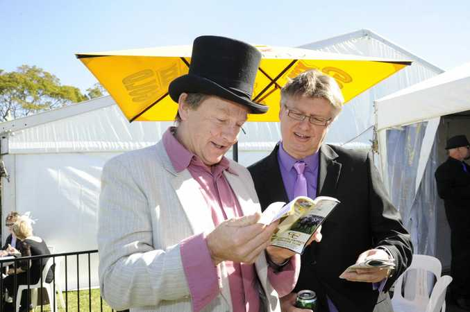 Steve Graham and Chris Howarth were at the Grafton race track on Thursday for the Grafton Cup. Photo Debrah Novak / The Daily Examiner