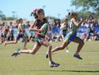 Touch - 2014 Junior State Carnival, Hervey Bay. Sprint challenge - (L) Tayla Prinz (Redlands) and Diane Wright (Gold Coast) battle it out for first in the U/10 girls race. Photo: Alistair Brightman / Fraser Coast Chronicle