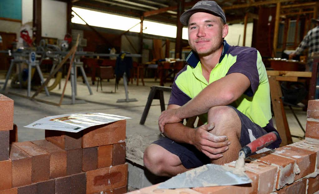 IN TRAINING: Isaac Machin practises his talents as one of the national finalists for the Bricklaying WorldSkills competition.