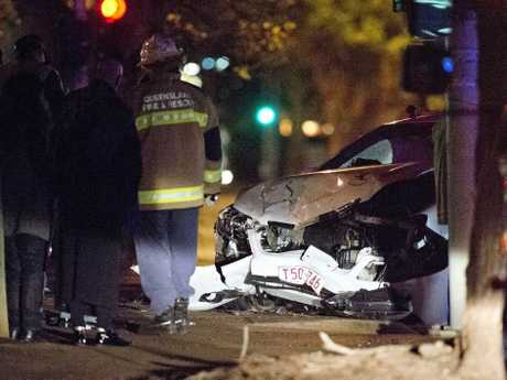A crash between a taxi and car on Friday night.