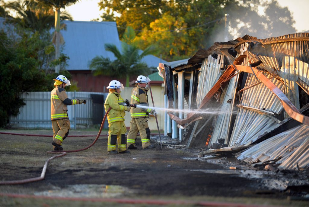 BLAZE: Police are investigating the cause of a fire that gutted a shed at the old showgrounds site on Saturday afternoon. Photo: Zach Hogg / NewsMail