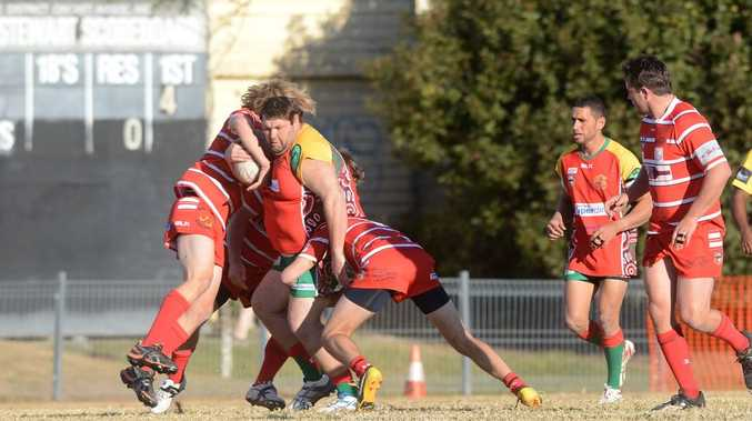 Sam Dwyer tackling Les Roberts, Rugby League, at Crozier field in Lismore. Northern United vs Byron Bay. Photo : Mireille Merlet-Shaw/The Northern Star