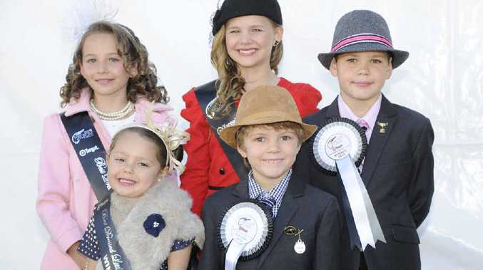 WINNERS: Elle Cone, Madeleine Vidler, Levi Vidler. (Front Row) AriaBarnes and Jesse Martin winners of the Maclean Cup Junior Fashion on the Field. Photos: debrah novak
