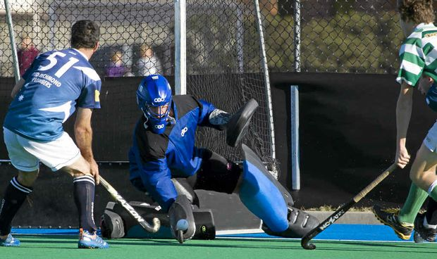 UNDER PRESSURE: Royals goalie Joshua Rose was forced to work hard in the Far North Coast Premier League Hockey match against Coraki at Clarence Valley Regional Hockey Complex on Sunday. PHOTO: SHANE SEDGER
