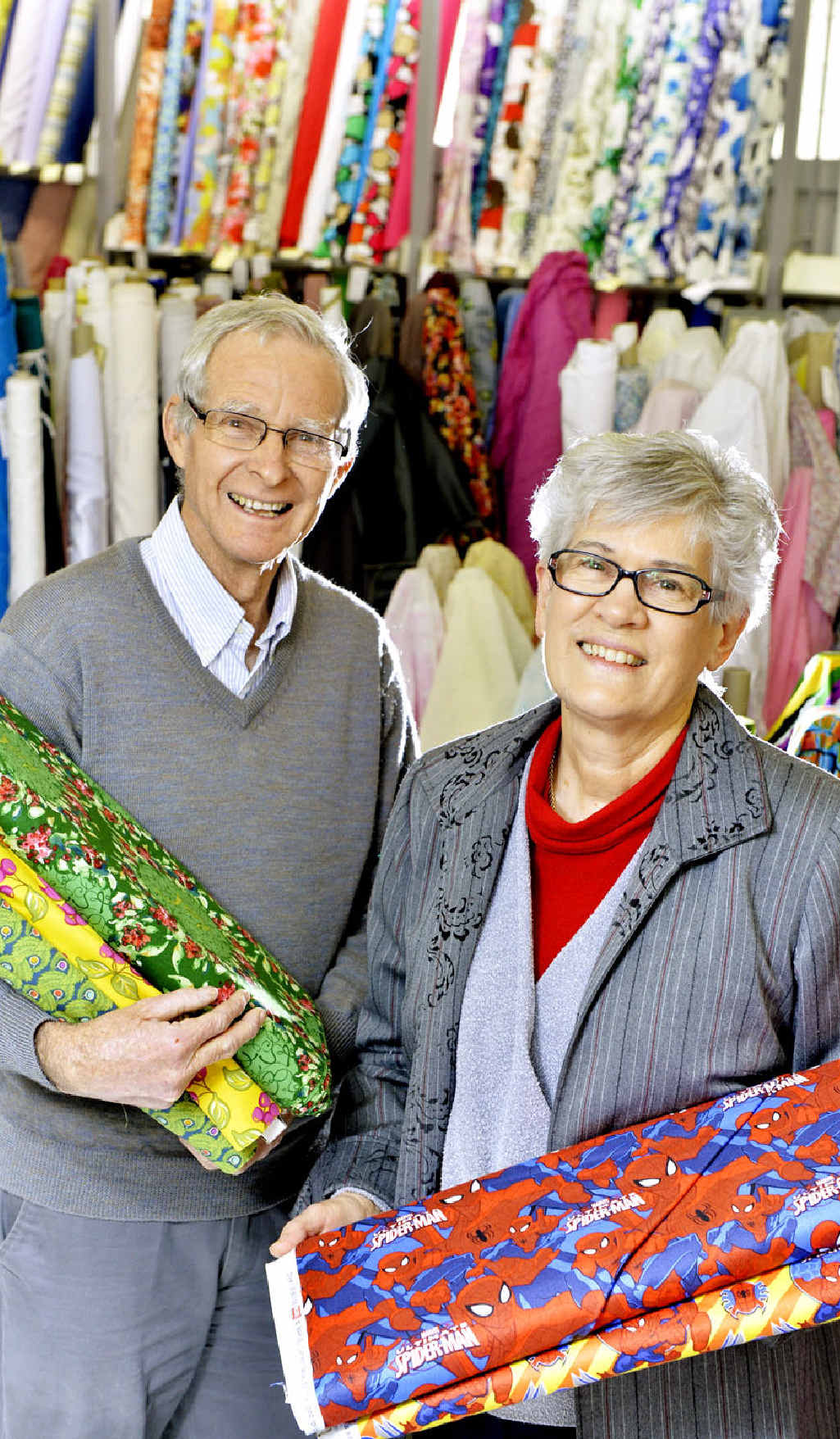 STITCHED UP: Alan and Margaret Ingham own Bargain Box Fabrics on Darling St.