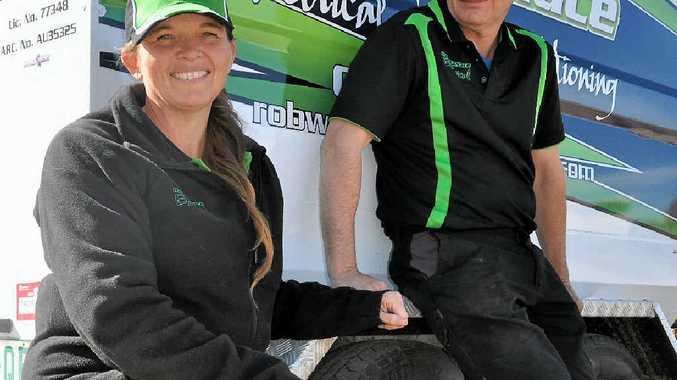 WORKPLACE ROMANCE: Electrical apprentice Terease Wallace hopes to learn from her husband and now boss Rob.