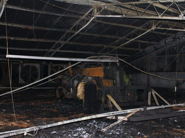 Machinery was destroyed in a fire that gutted half of a large poultry shed in the Lockyer Valley.