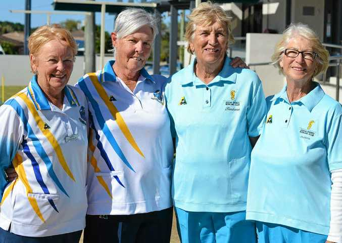 WINNERS: Mary Chisholm and Carolyn Caine (left) took out the Tweed-Byron District Women's Bowling Association open pairs championship. They beat Ocean Shores bowlers Barbara Sprengel and Glenys Johnston in the final.