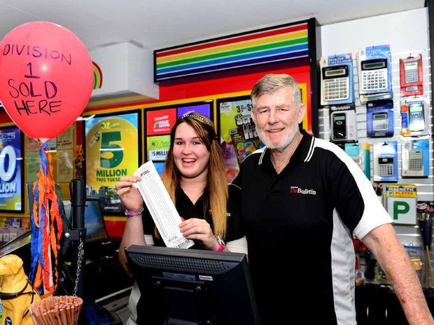 WINNING WAYS: Wandal Newsagency's Cassandra Kite and Terry Robinson celebrate after selling another Gold Lotto Division 1 winning ticket, which scored a Rockhampton couple $1.3 million in Saturday night's draw.