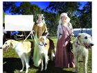 LEADING THE WAY: Edwina and Alexis from Knights of the Long Dog with Anastasia, Zhenya and Liadawn at the Abbey Medieval Festival on Saturday.