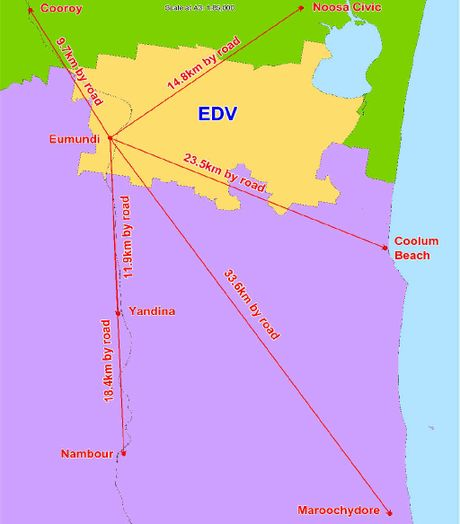 TUG OF WAR: A map showing the EDV secession area (yellow), and the distances from Eumundi to localities in Noosa Council (green) and Sunshine Coast Council (purple).