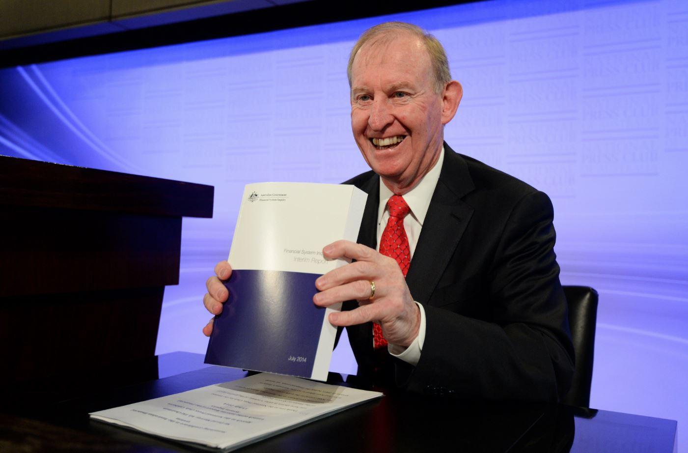 Chair of the Financial Systems Inquiry, David Murray, presents the Financial System Inquiry Interim Report at the National Press Club in Canberra, Tuesday, July 15, 2014.