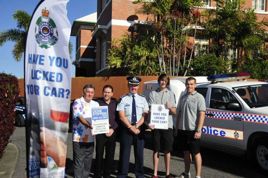 A community initiative rolled out by Gladstone welfare and community organisations are imploring Gladstone vehicle owners to lock up. Crimestoppers Chairperson Bruce Crozier, Deputy Mayor Matt Burnett, Inspector Darren Somerville and Print & Sign Newsprint HRG employees Ben Hughes and Bentley Donges.