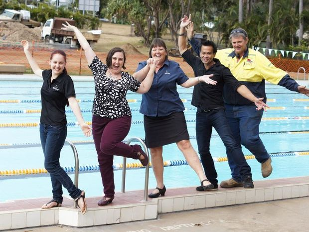 Gladstone Regional Youth Council chair Sarah Janson, Animating Spaces project coordinator Kristel Kelly, Gladstone Regional Council Youth Development Officer Vernetta Perrett, Animating Spaces Gladstone Frolic coordinator David Kingston and Ernie Beale from Ernie's Dingo Hire, the company doing the earthworks for the project.