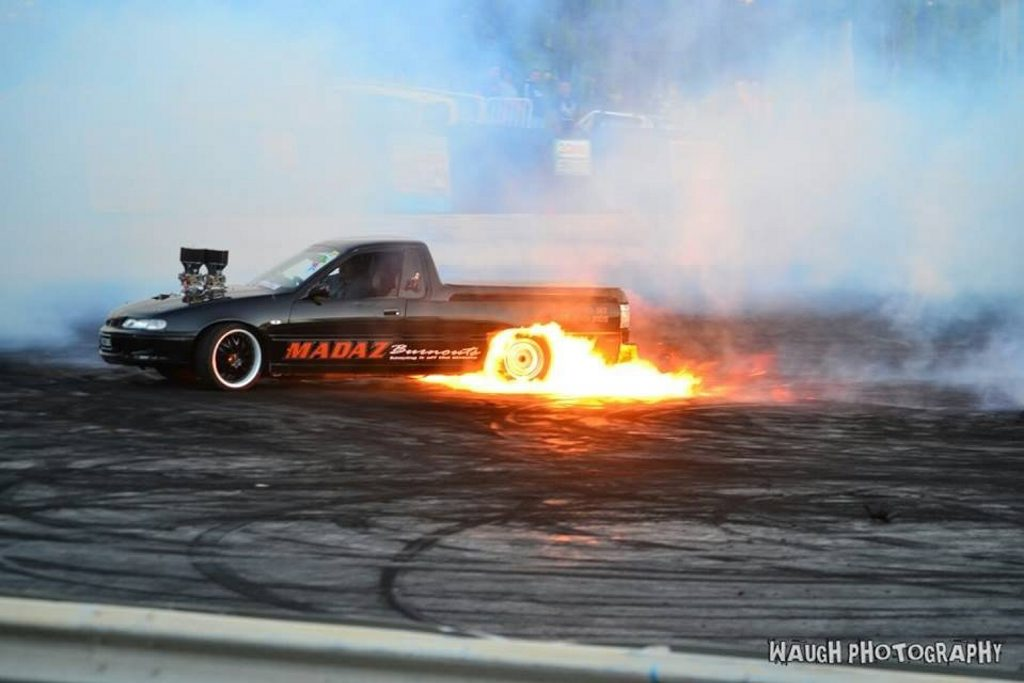 Vicious lighting it up during a burnout. Photo Contributed