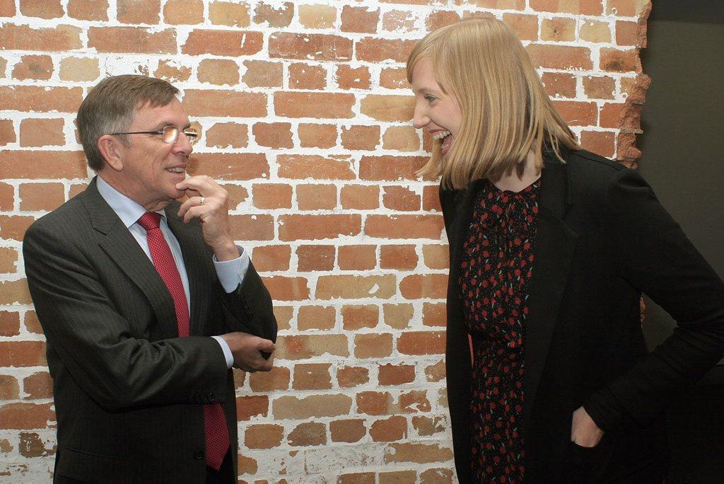 Arts Minister Ian Walker and last year's Grant McLennan Fellowship winner Seja Vogel.