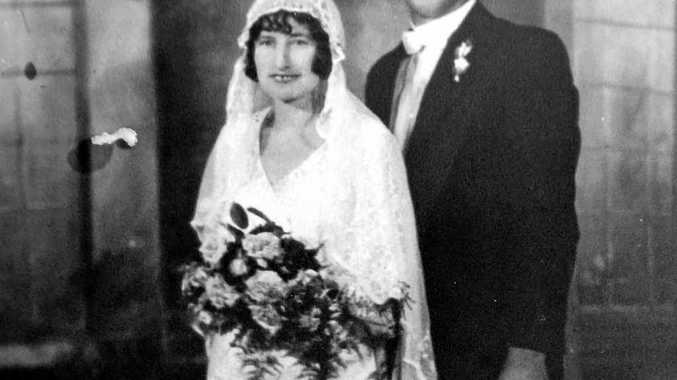 PRETTY WEDDING: Cath Moore and her husband John Moore on their wedding day. INSET: Cath, now 107.