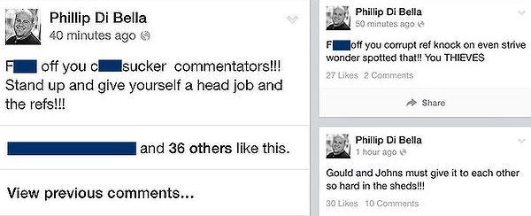 Phillip Di Bella's Facebook rant. Photo: Brisbane Times