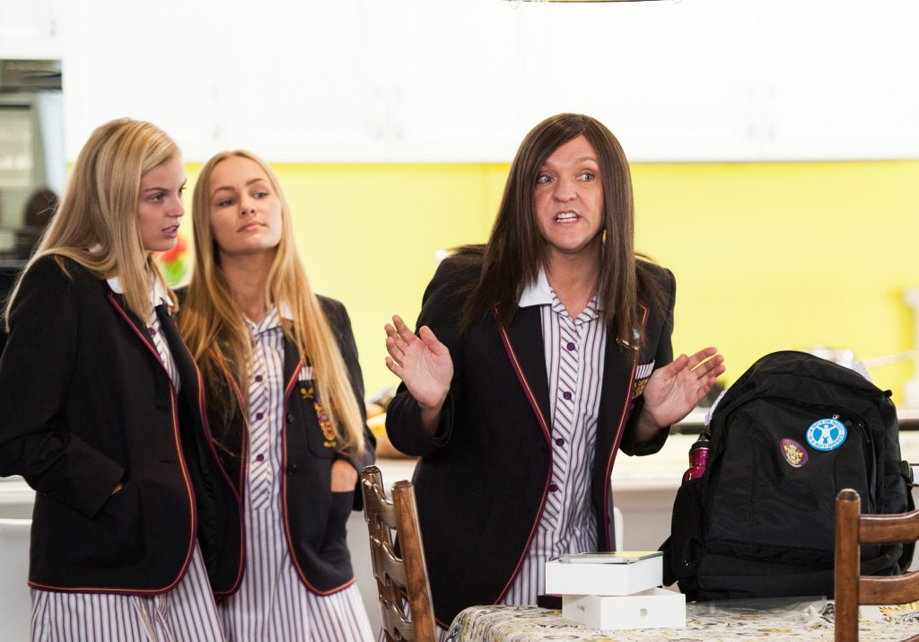 Chris Lilley, far right, in a scene from the TV series Ja'mie: Private School Girl. Supplied by ABC TV publicity website. Please credit photo to Ben Timony.