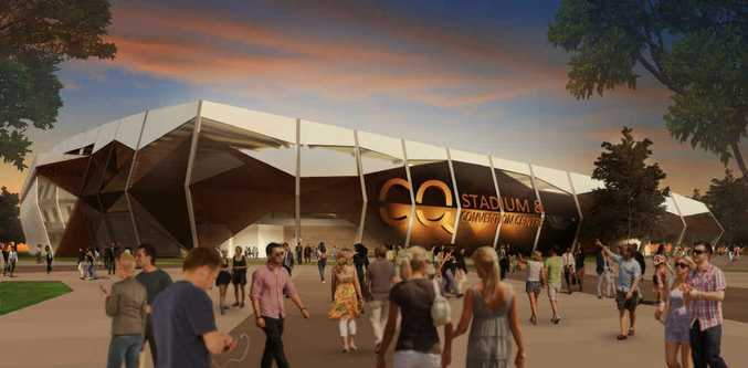 PULLING POWER: An artist's impression of the 1000-seat convention centre and 20, 000-seat stadium for Rockhampton. The construction could create 1000 full time jobs.