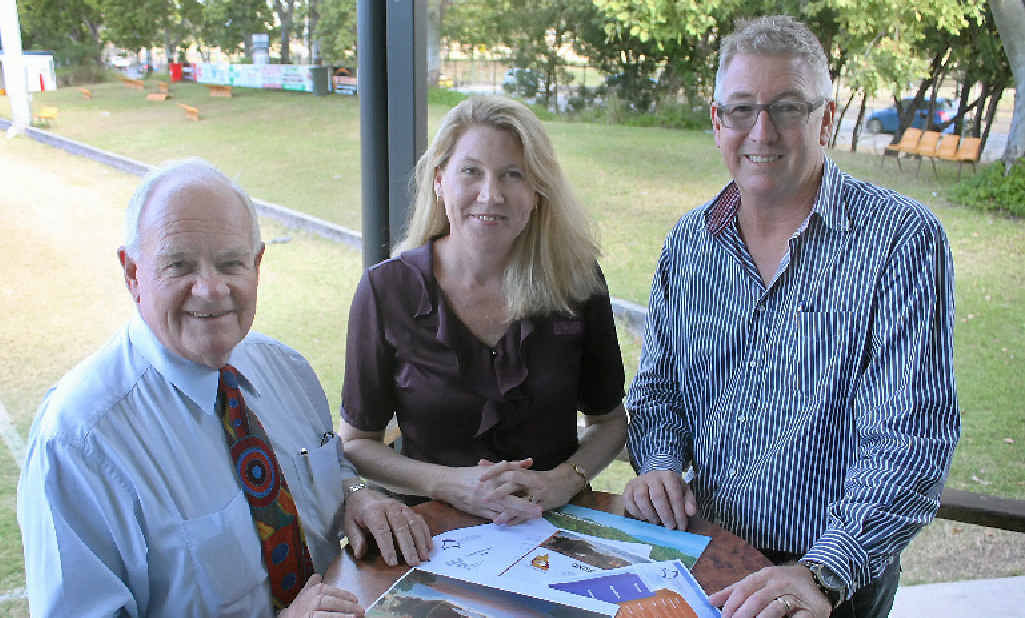 GAME ON: CQ NRL Bid chairman Geoff Murphy, Capricorn Enterprise CEO Mary Carroll and chairman Graham Scott are calling for community support for a new convention centre and stadium in Rockhampton.