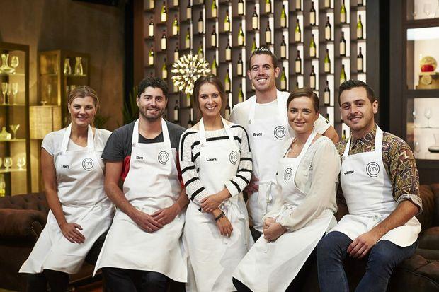MasterChef Australia 2014 Top 6 finalists, from left, Tracy Collins, Ben MacDonald, Laura Cassai, Brent Owens, Emelia Jackson and Jamie Fleming. Supplied by Network Ten.