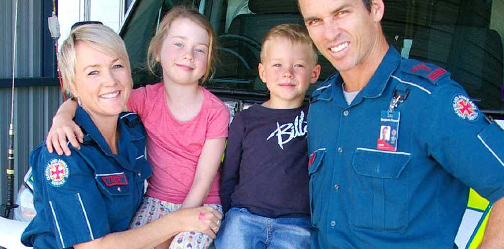ON THE MOVE: Kerri-Leigh and Ben Russell, with children Sean and Sarah, are sad to be leaving Capella after five years as the town's paramedics.